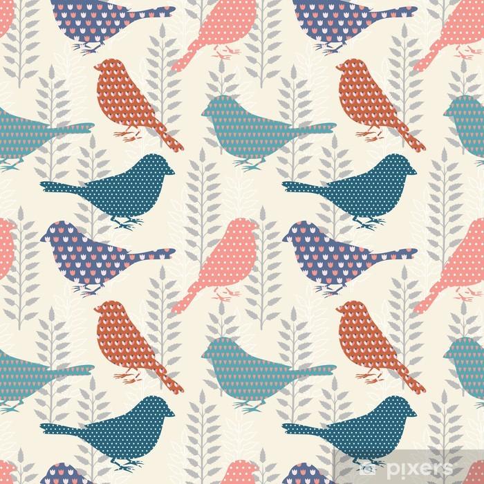 Carta da Parati in Vinile Uccelli seamless pattern - Stili