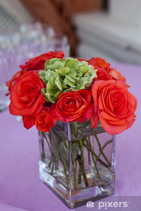 "Vinyl-Fototapete Red rose ""Großen"" in der transparenten Glasvase - Blumen"