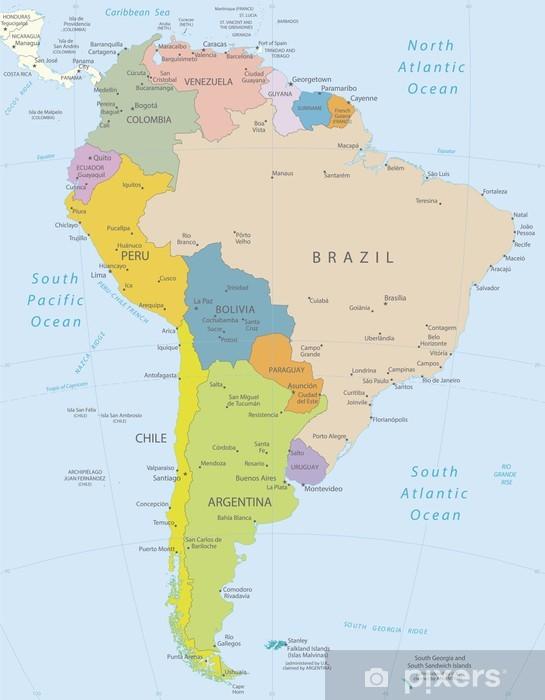 Fotomural Estándar América del Sur-altamente map.Layers detallados utilizados. - Temas