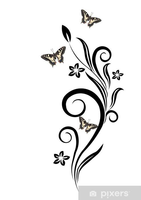 Fiori Stilizzati.Fiori Stilizzati E Farfalle Wall Mural Pixers We Live To Change