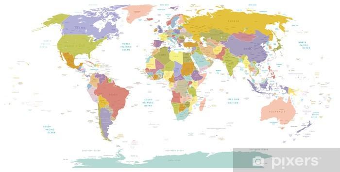 Pixerstick Sticker High Detail Wereld map.Layers gebruikt. - Thema's