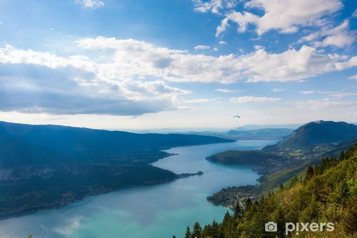 Papier peint vinyle Vue sur le lac d'Annecy depuis le Col du Forclaz - iStaging