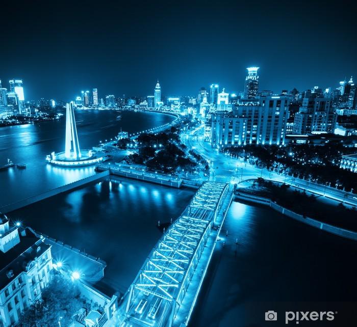 Plakát Šanghaj bund v noci - Město