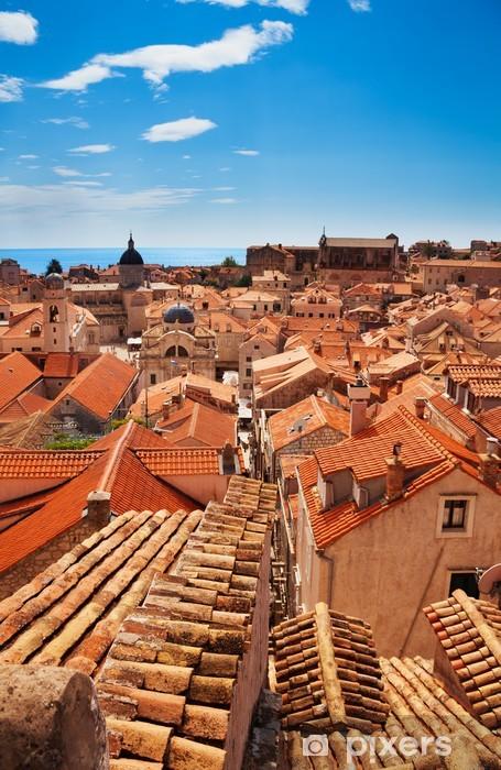 Fototapeta winylowa Widok na Dubrownik dachy - Europa