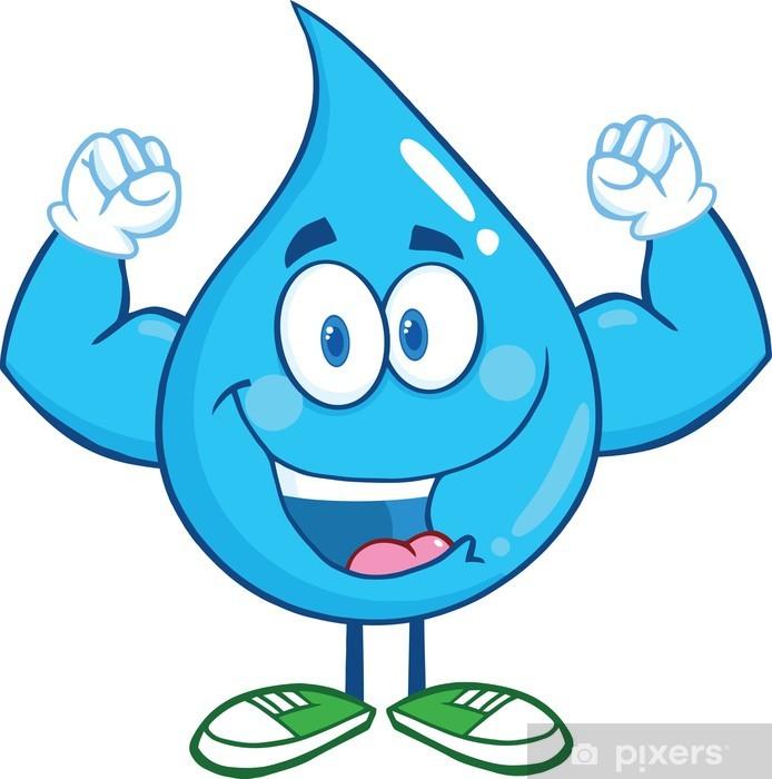 Su Damlası Karikatür Maskot Karakter Gösteriliyor Kas Arms Duvar