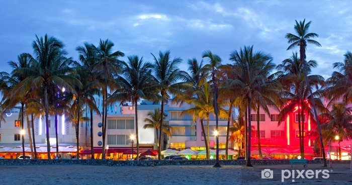 Miami Beach, Florida hotels and restaurants at sunset Self-Adhesive Wall Mural - Palm trees