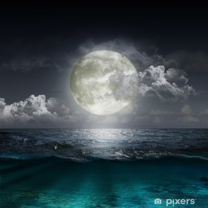 moon reflecting in a lake Pixerstick Sticker - Sea and ocean