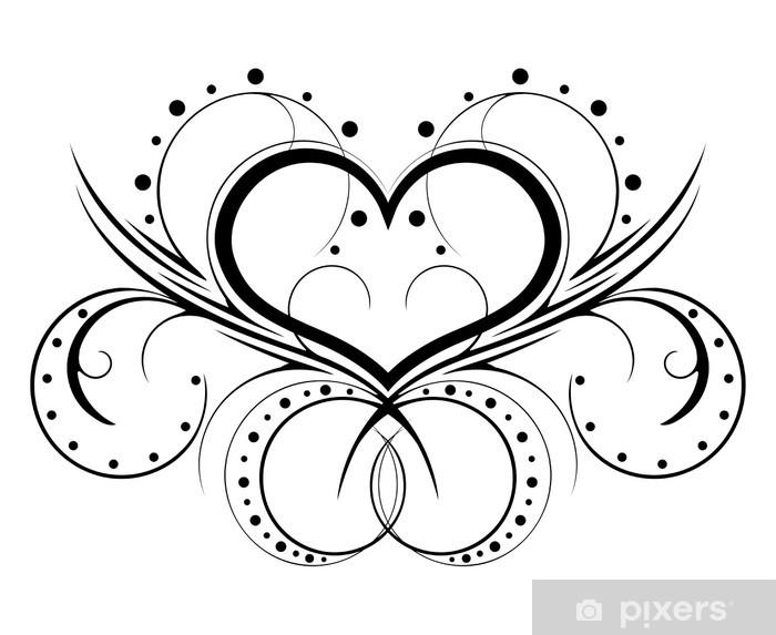 Pixerstick Aufkleber Feminine Tattoo in einem Muster auf weißem Hintergrund - Zeichen und Symbole