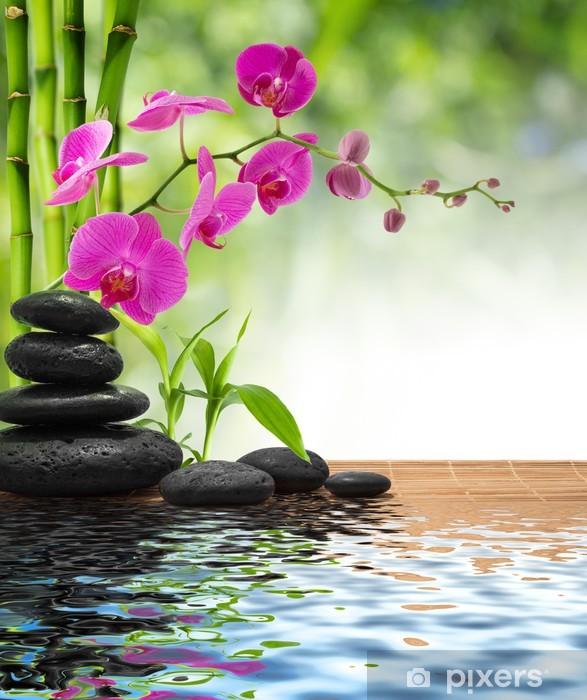 Fototapeta winylowa Skład bambusa-purpurowe orchidea-czarne kamienie - Style