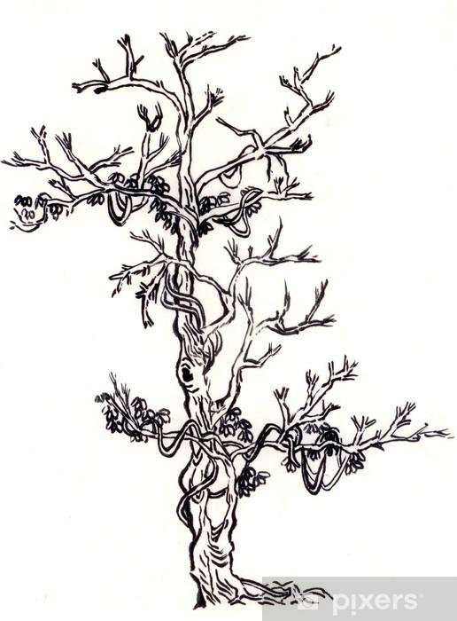 çince Boyama Ağaç Ve Rattan Duvar Resmi Pixers Haydi Dünyanızı