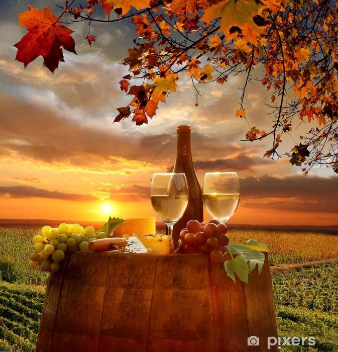 White wine with barell in vineyard, Chianti, Tuscany, Italy Pixerstick Sticker - Tuscany