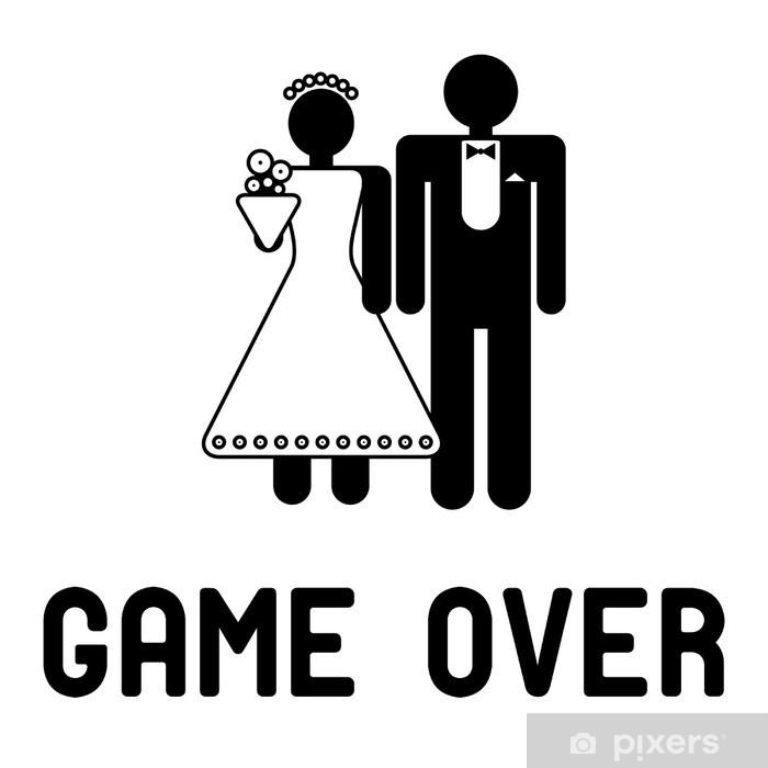 Sticker Symbole Drole De Mariage Game Over Pixers Nous Vivons Pour Changer