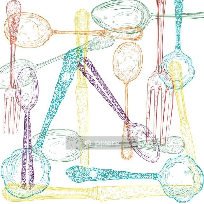 Retro cutlery sketch style set. Wall Decal - Wall decals
