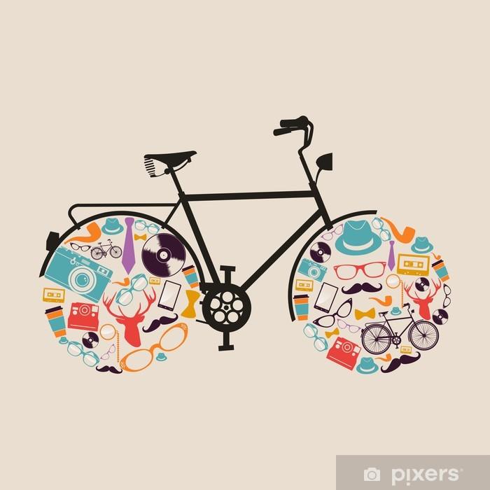Papier peint vinyle Hipsters cru icônes vélo. - Thèmes