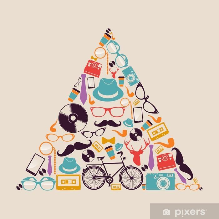 Naklejka Pixerstick Retro biodrówki ikony trójkąta. - Moda
