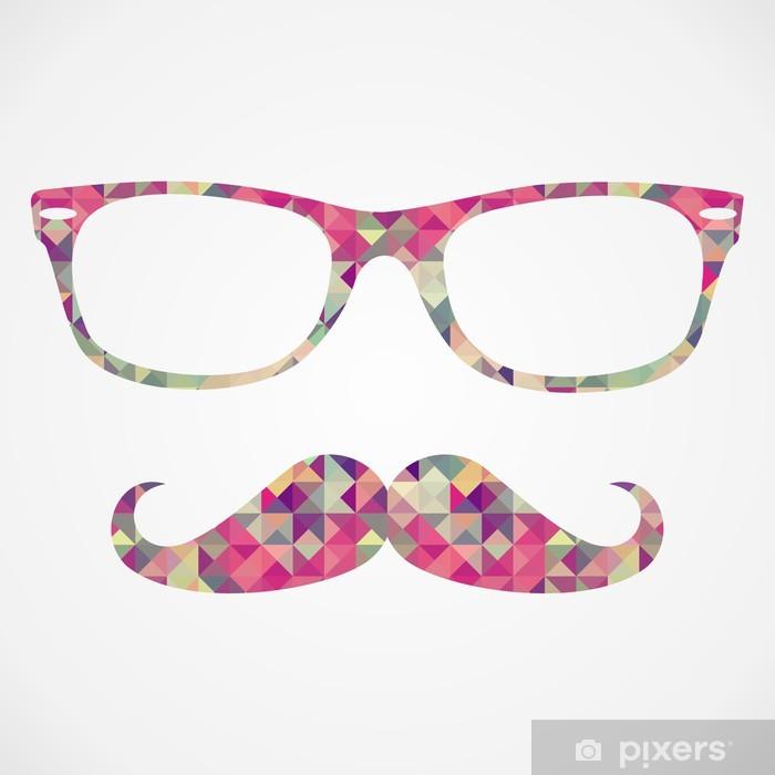 Retro hipster face geometric icons Pixerstick Sticker - Moustache