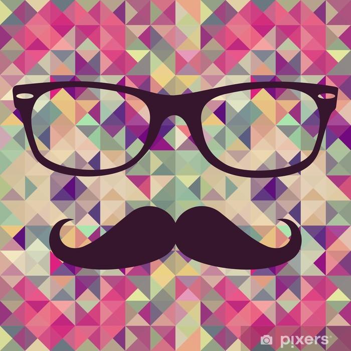 Pixerstick Sticker Vintage hipster gezicht geometrisch patroon. - Snor