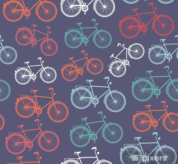 Zelfklevend Fotobehang Retro hipster fiets naadloos patroon. - Achtergrond