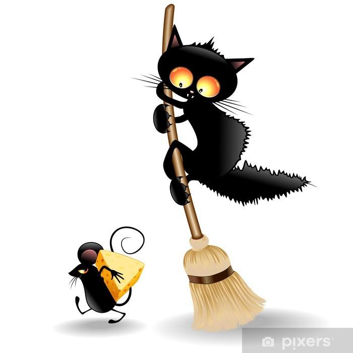 Fotomural Estándar Gato de la historieta asustado por Mouse-Gatto Spaventato da Topo - Mamíferos