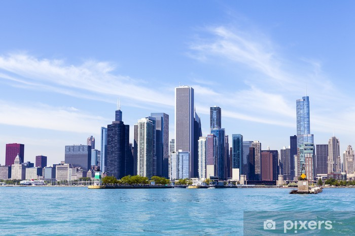 Chicago Skyline With Blue Clear Sky Sticker Pixers We Live To