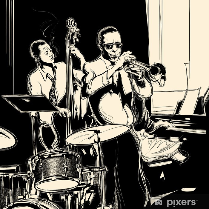 Jazz band with double-bass trumpet piano and drum Pixerstick Sticker - Jazz
