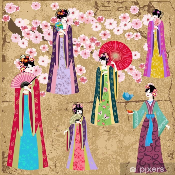 Poster Orientalische Mädchen im Retro-Anzug - Stile