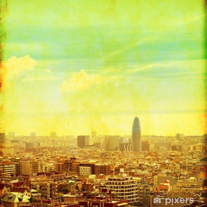 Sticker Pixerstick Grunge image de Barcelone paysage urbain. - Thèmes