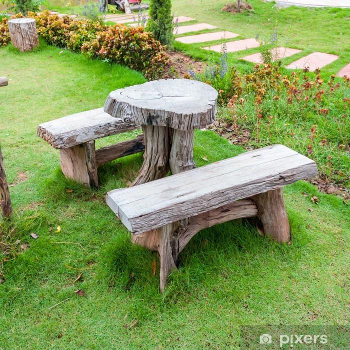 Ogromnie Fototapeta Pusty drewniany stół i ławki w ogrodzie lub parku ZI23