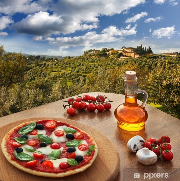 Naklejka Pixerstick Włoska pizza in Chianti, Toskania krajobraz, Włochy - Tematy