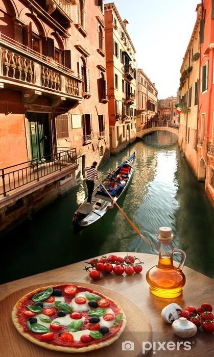 Naklejka Pixerstick Wenecja z włoskiej pizzy z kanałem w Włoszech - Tematy