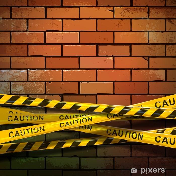 Naklejka Pixerstick Ribbon Uwaga na ceglany mur - Tła