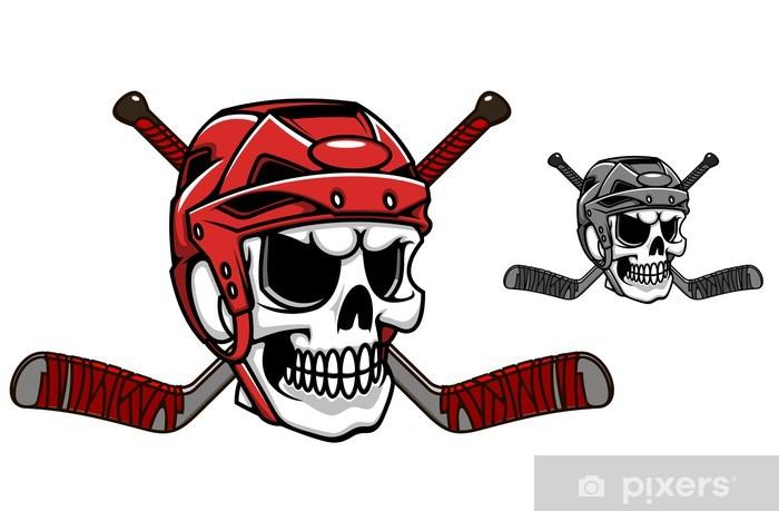 Aufkleber Schädel Im Eishockey Helm Pixerstick
