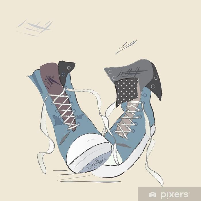 Fototapete Segeltuch Schuhe Illustration Gezeichnet Entwurf Eines