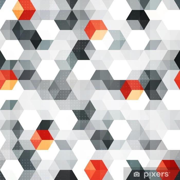Pixerstick Sticker Abstracte kubussen naadloze patroon met grunge effect - Stijlen