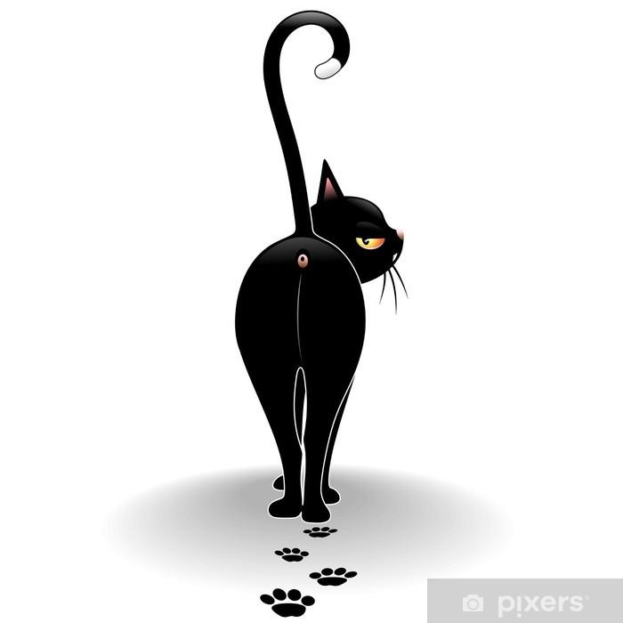Disdainful Black Cat Cartoon Gatto Nero Sprezzante Wall Mural