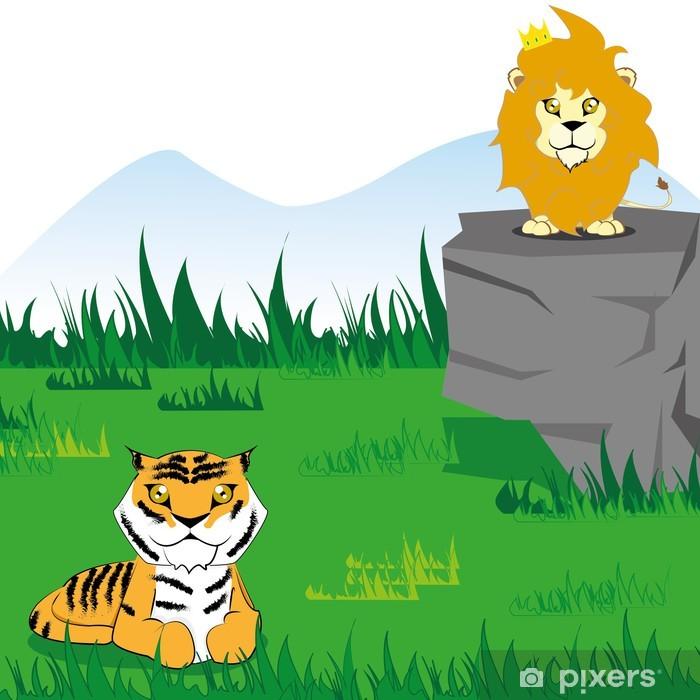 Plakat Zabawna kreskówka wektor tygrys i lew na scenie - Natura i dzicz