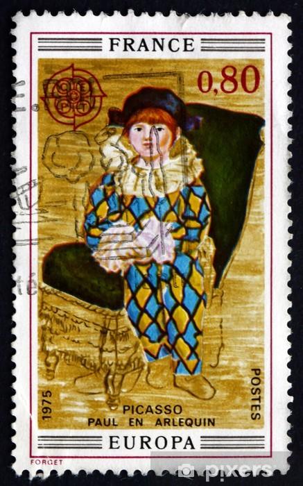 Papier peint vinyle Timbre-poste France 1975 Paul en Arlequin, Pablo Picasso - Art et création
