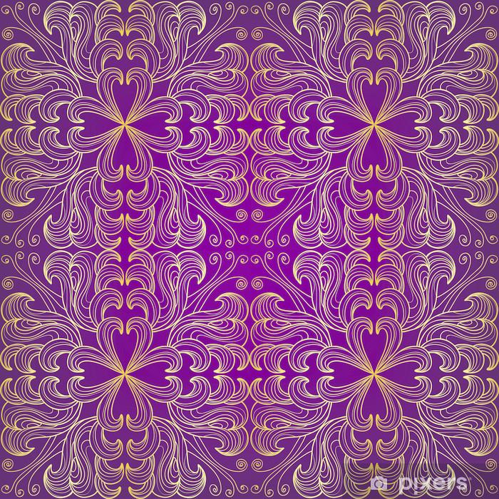 Papier peint vinyle Or motif floral sur un fond pourpre - Arrière plans