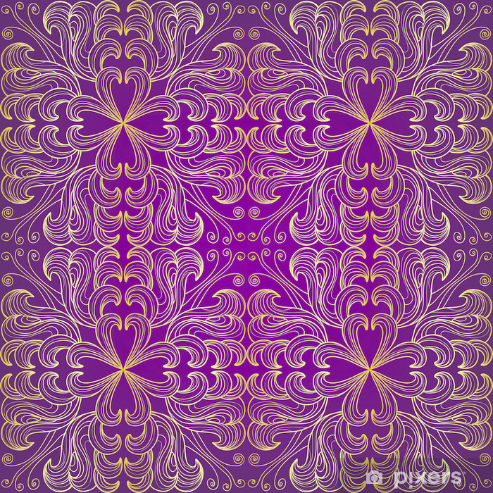 Golden seamless floral pattern on a purple background Vinyl Wall Mural - Backgrounds