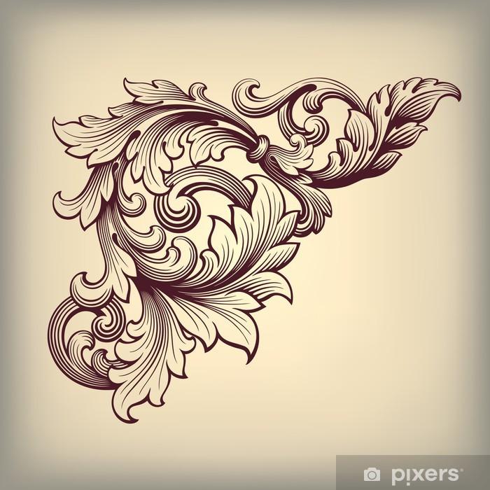 Nálepka Pixerstick Vector vintage barokní rám roh ozdobený - Témata