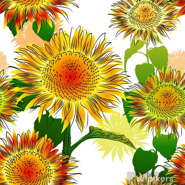 Seamless pattern with sunflowers Pixerstick Sticker - Themes
