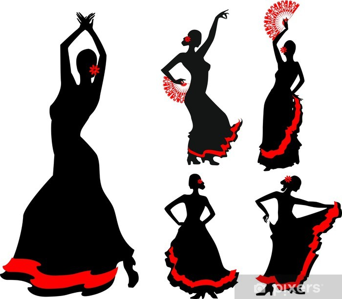 Fototapeta winylowa Pięć sylwetki tancerki flamenco - Kobiety