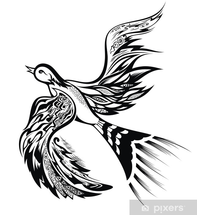 Abstract Bird Tattoo Design Wall Mural Vinyl