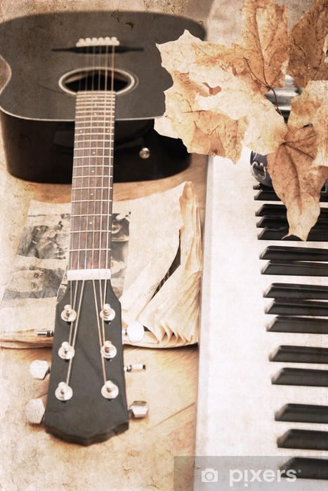 artwork in vintage style, guitar and fortepiano Vinyl Wall Mural - Themes