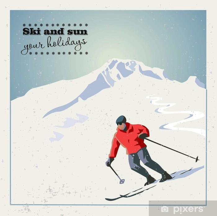 Papier peint vinyle Diapositives de skieurs sur la montagne de la montagne - Sports d'hiver