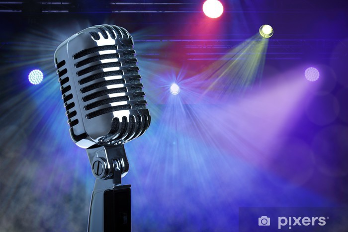 Fototapeta winylowa Vintage mikrofon na scenie - Rock
