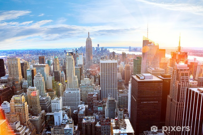 Aerial view of Manhattan skyline at sunset, New York City Vinyl Wall Mural -