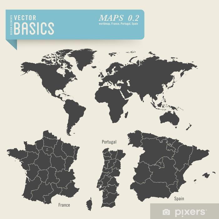 Vindu Og Glassklistremerke Verdenskart Og Detaljert Kart Over