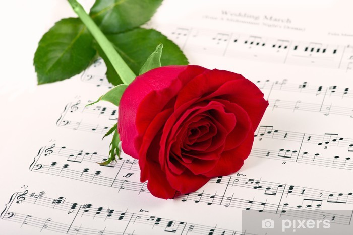 Red rose and music Pixerstick Sticker - Themes