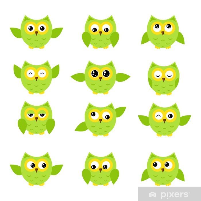 Sticker Pixerstick Ensemble de sourires de hibou. - Thèmes
